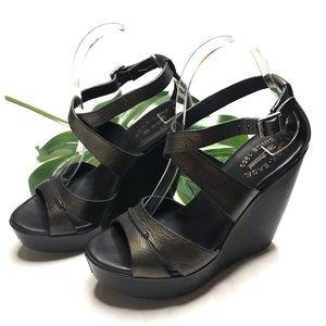 Kork-Ease Gracen Black Metallic Wedge Sandal